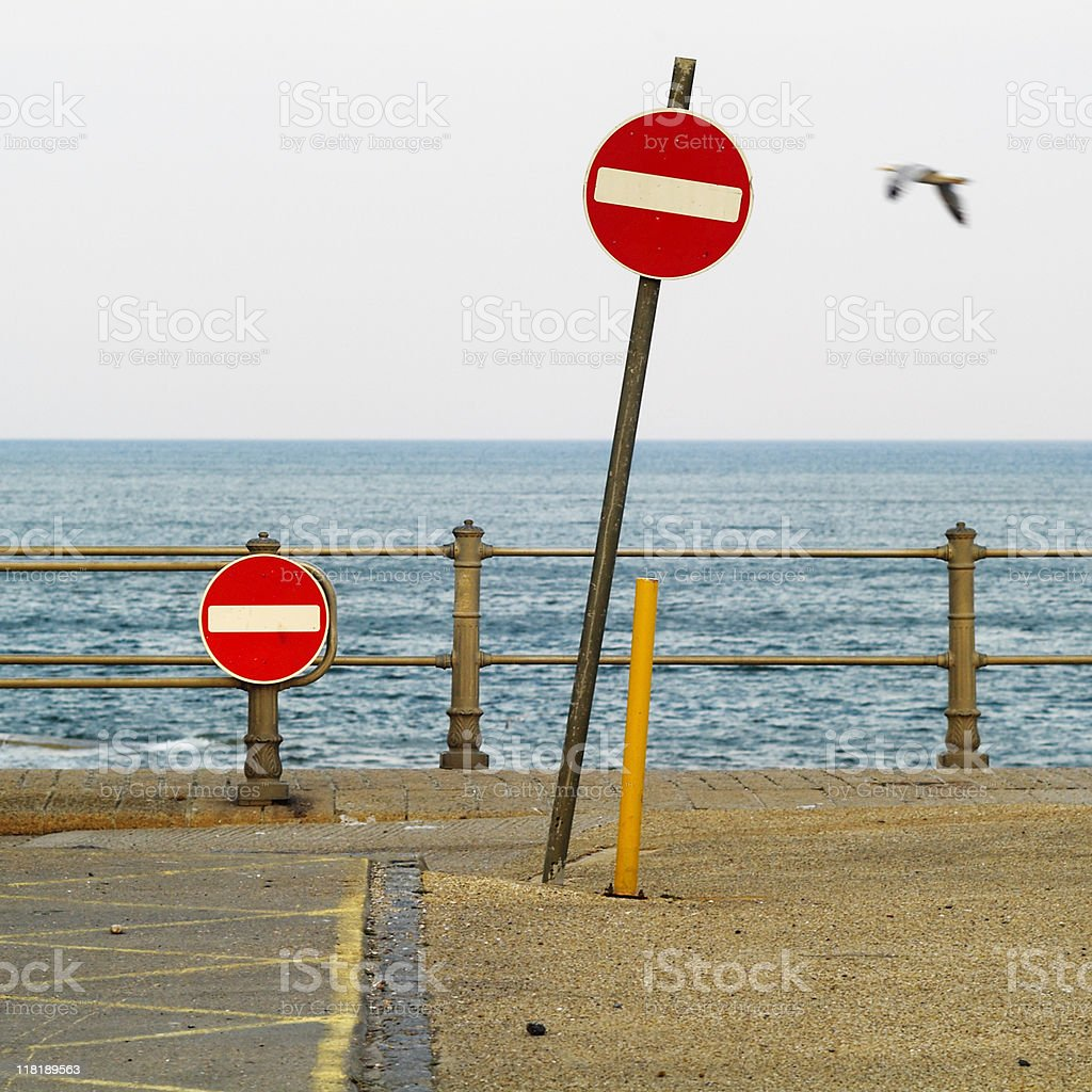 No entry signs, car park at the seaside, England stock photo