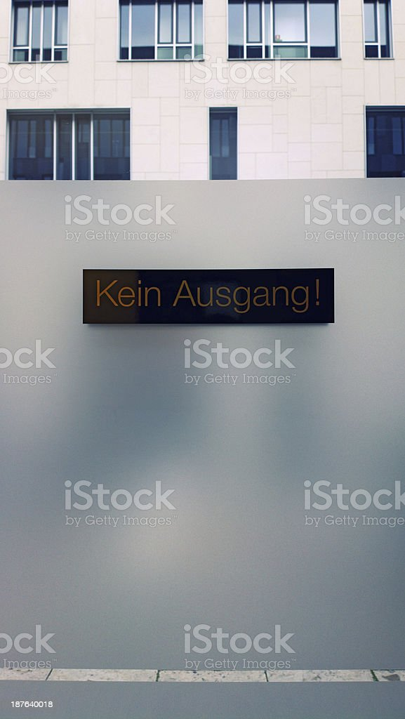 No exit sign on glass door royalty-free stock photo