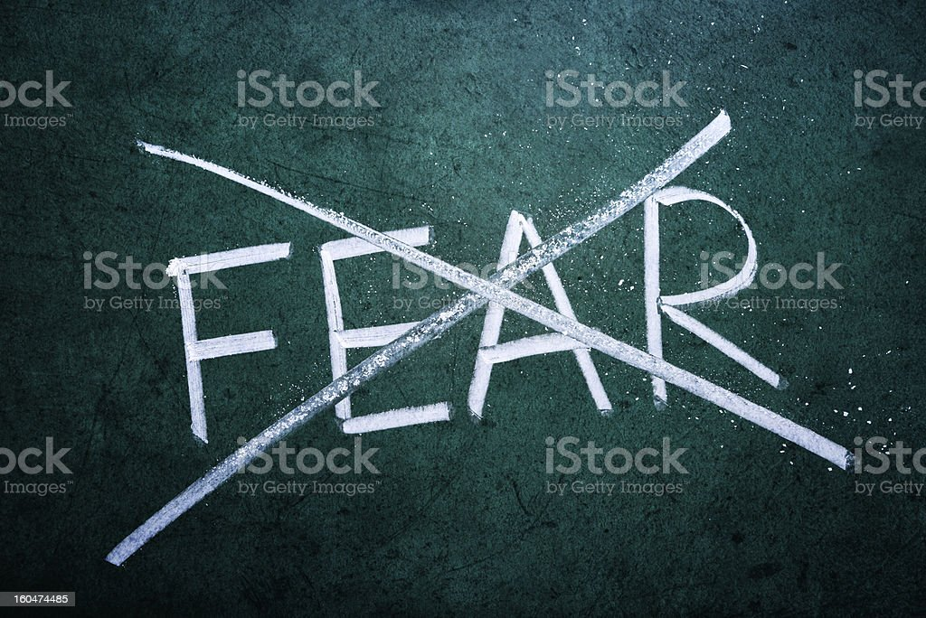No fear concept by crossing out the word fear  royalty-free stock photo