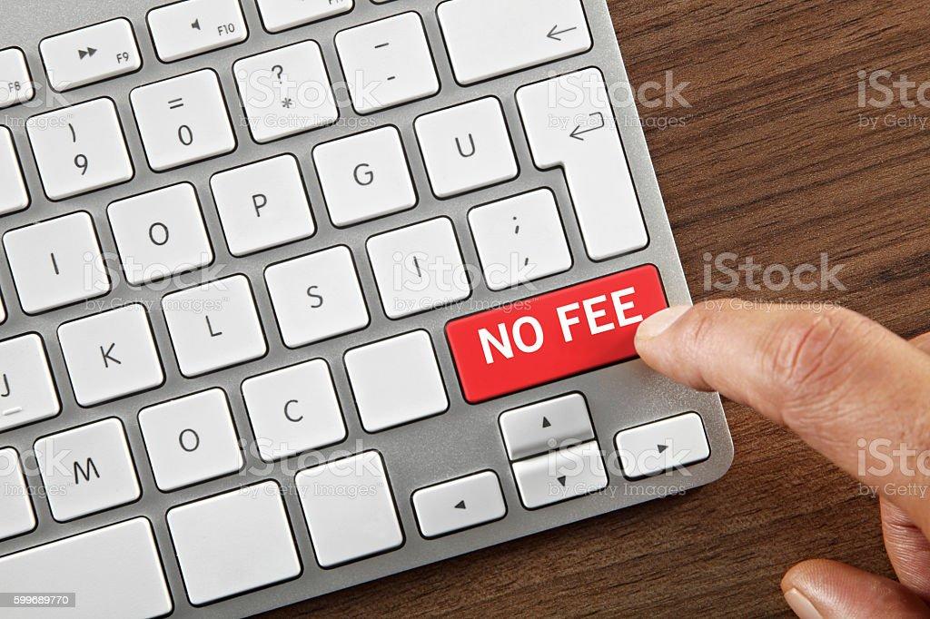 No Fee Button stock photo