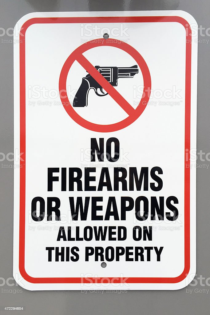 No firearms or weapons warning sign stock photo