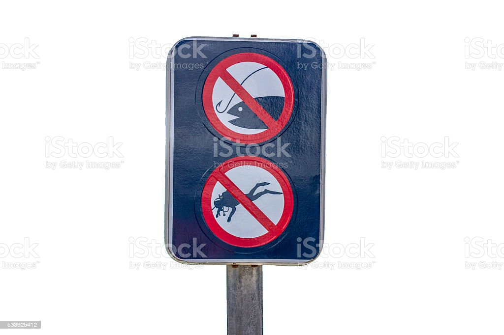 no fishing and diving stock photo