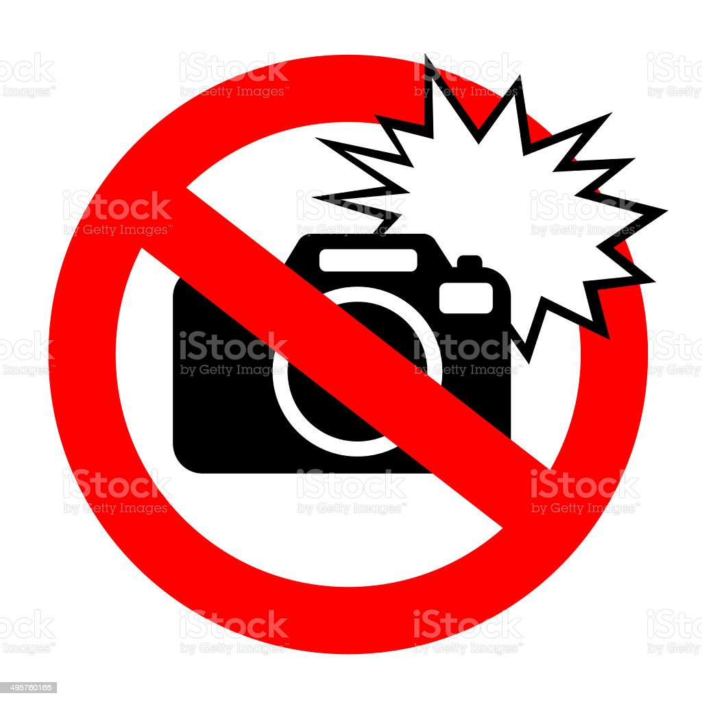No flash sign stock photo