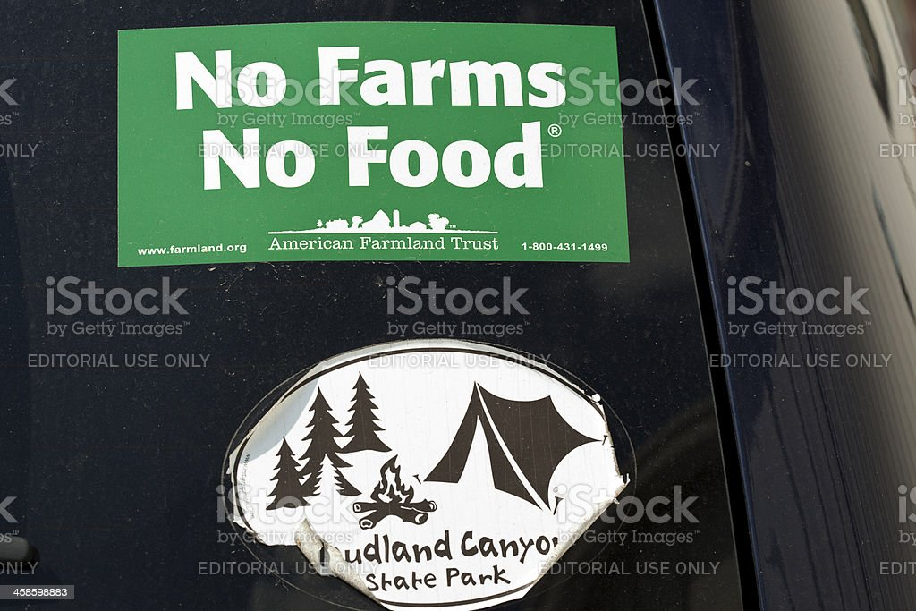 No Food Without Farms Bumper Sticker Promoting American Farmland Trust stock photo