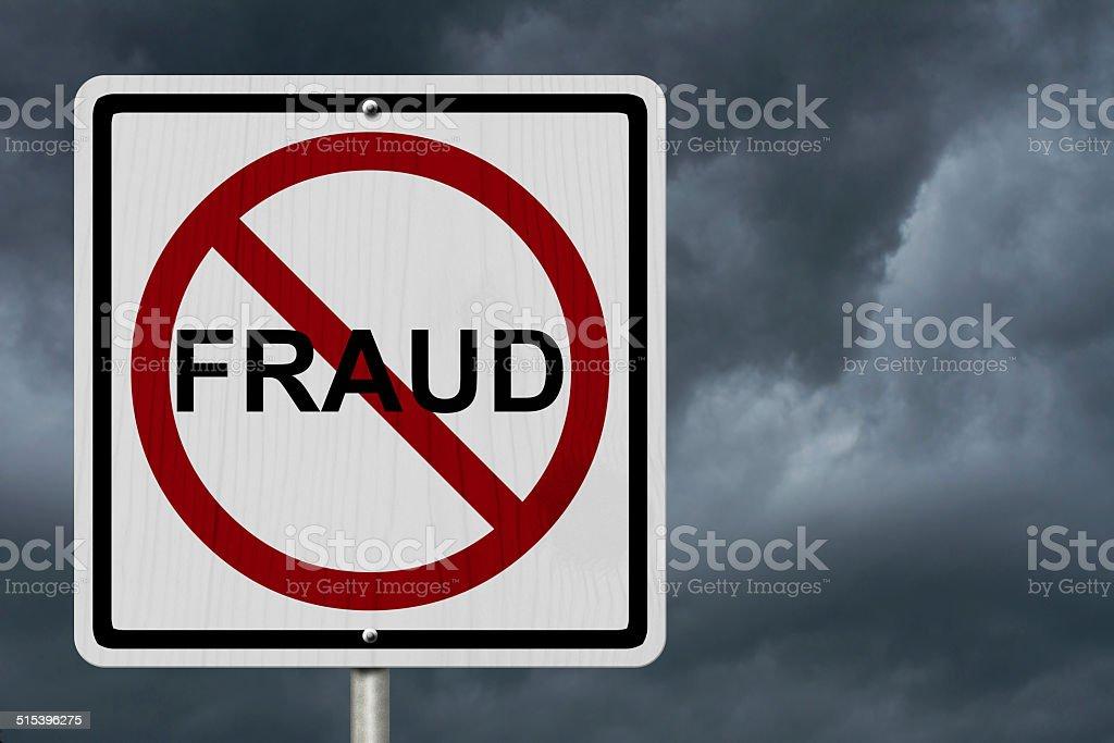 No Fraud Sign stock photo