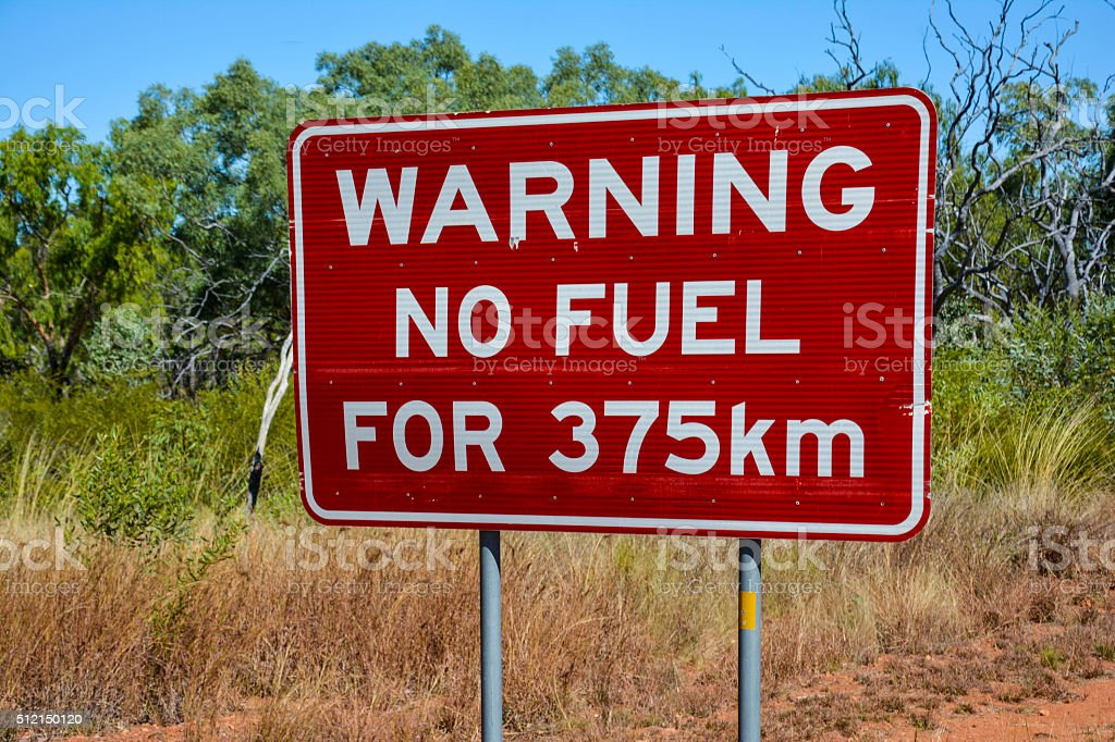 No fuel warning sign in the outback of Australia stock photo