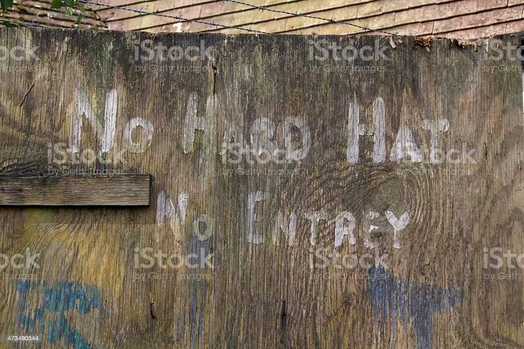 No Hard Hat No Entry Sign stock photo