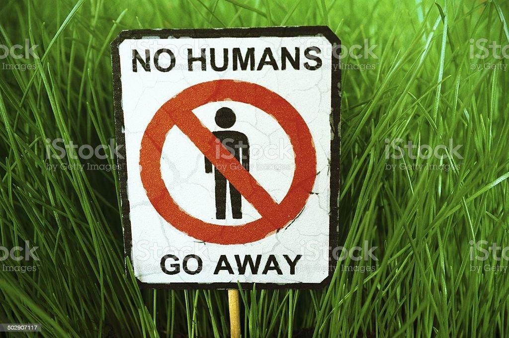 No Humans - Go Away Sign stock photo