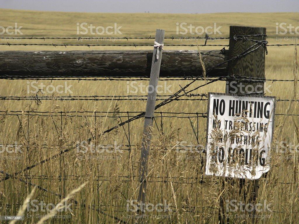 No Hunting Sign Plains Prairie royalty-free stock photo