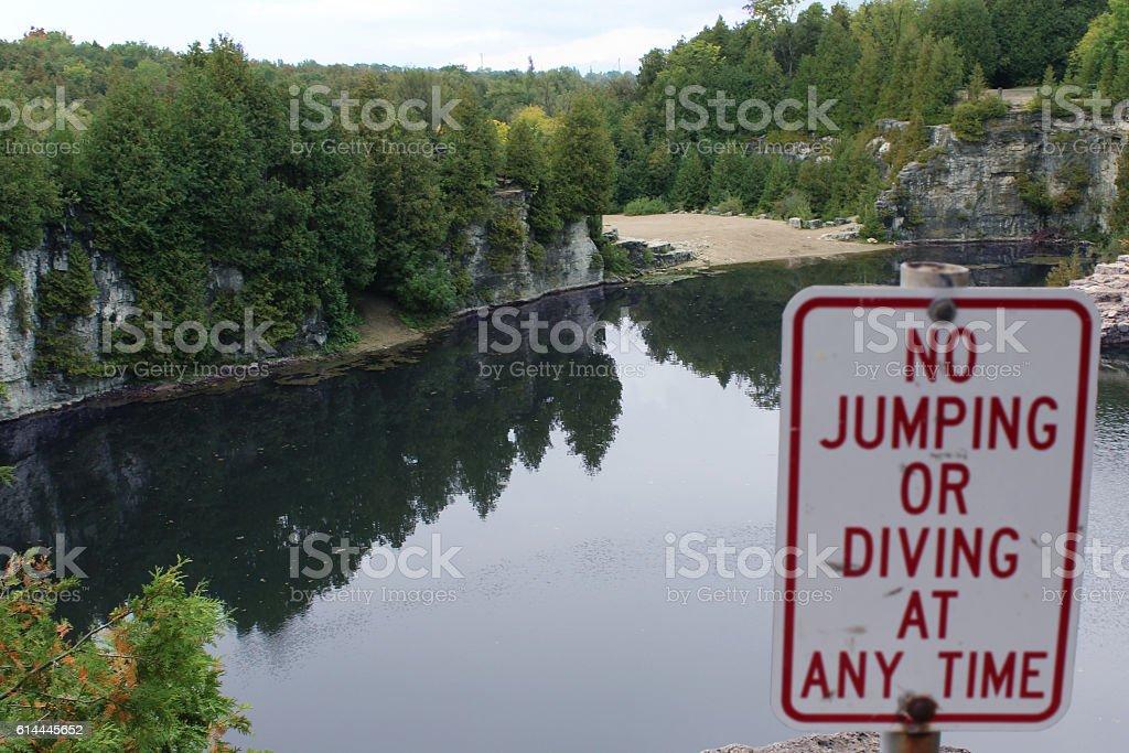 No jumping in lake stock photo