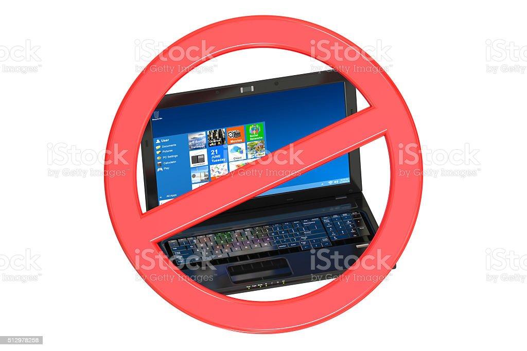 No Laptop prohibition sign stock photo