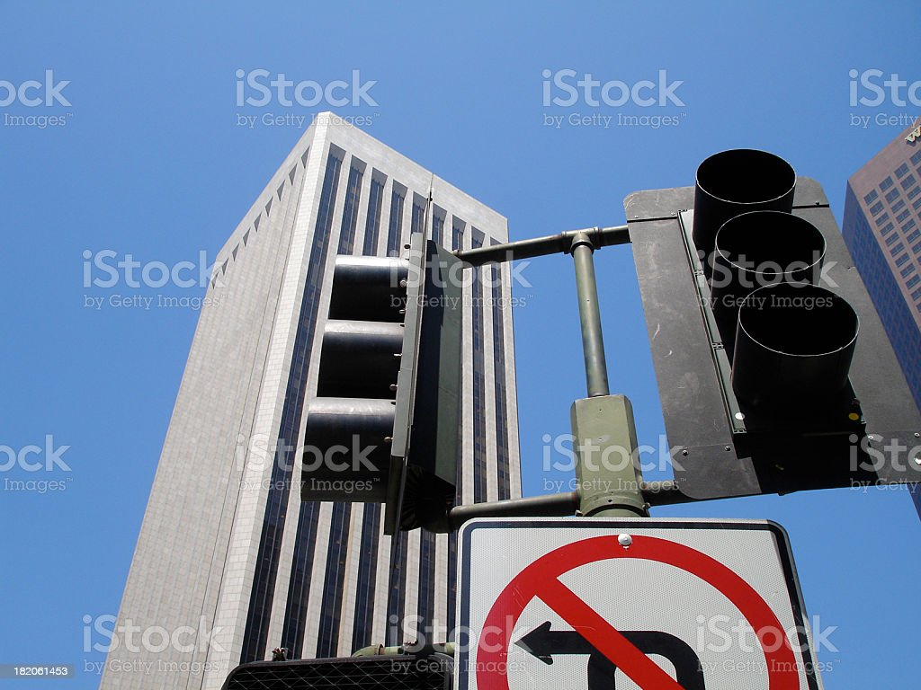 No Left Turn Downtown royalty-free stock photo
