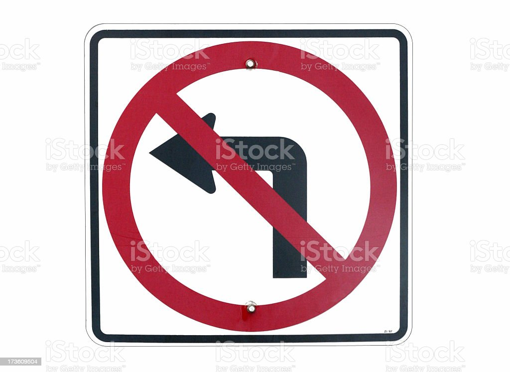 No Left Turn Sign royalty-free stock photo
