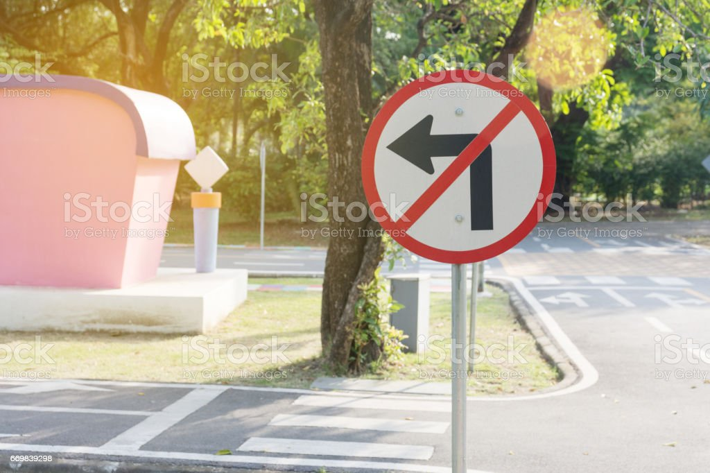 No Left Turn Sign stock photo