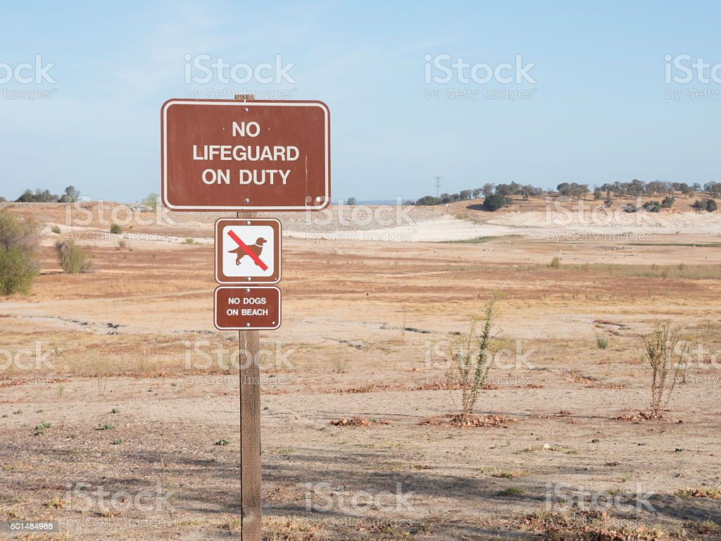 No lifeguard on duty sign stock photo