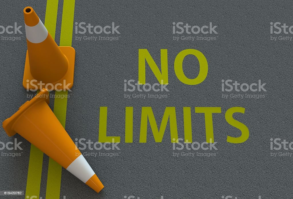 No Limits, message on the road stock photo