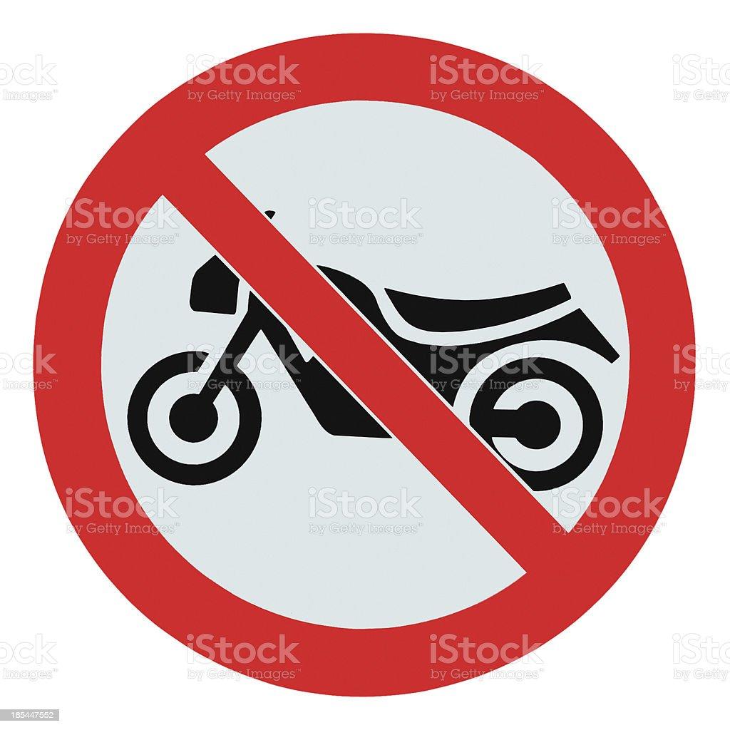 No motorcycle bikes allowed sign, isolated prohibition zone warning signage royalty-free stock photo
