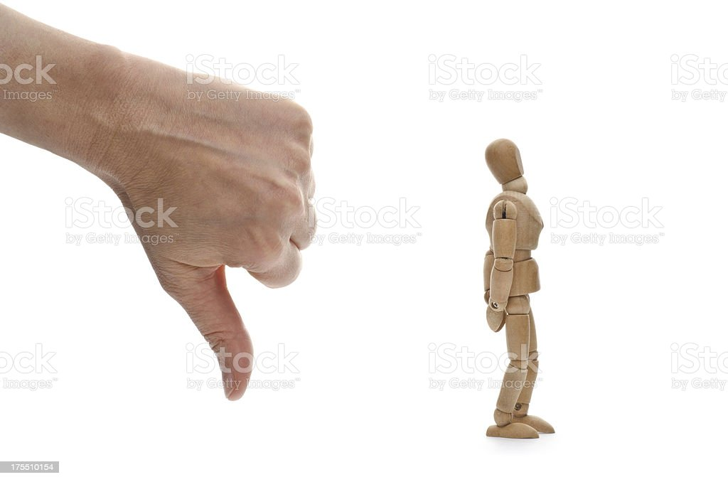 no! not me! wooden mannequin and hand of .... God? stock photo
