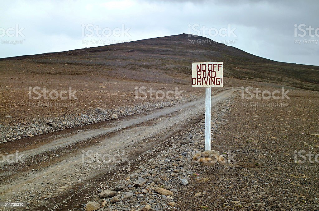 No off-road driving sign, Iceland stock photo