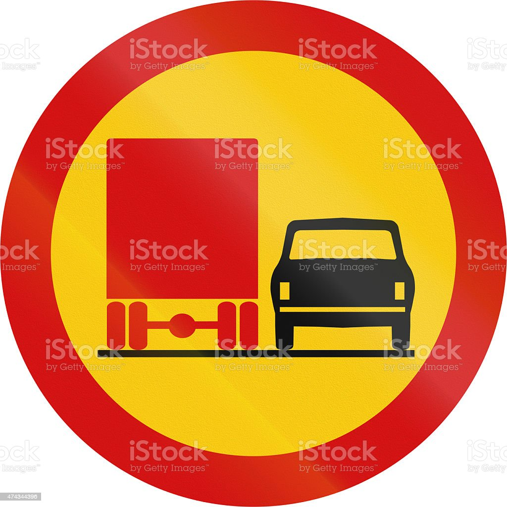 No Overtaking By Lorries in Iceland stock photo