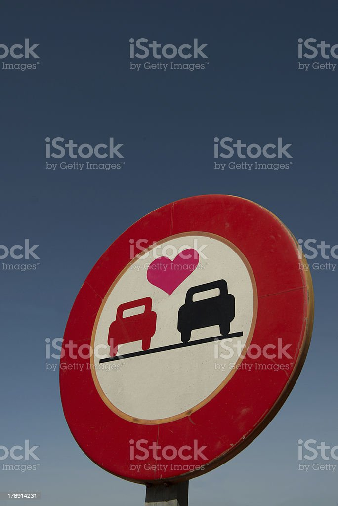 No overtaking sign with love heart royalty-free stock photo