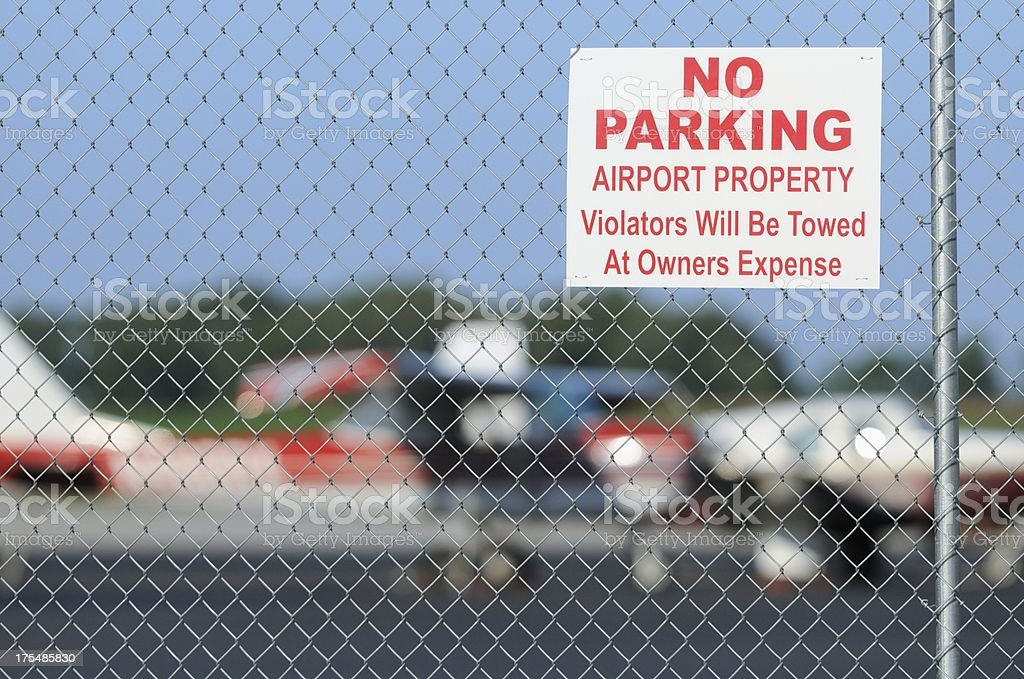 No parking airport property sign stock photo