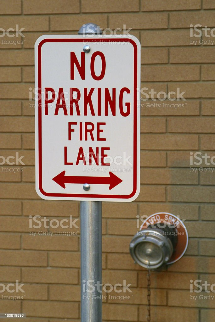 No Parking Fire Lane Sign 2. Road Sign. stock photo