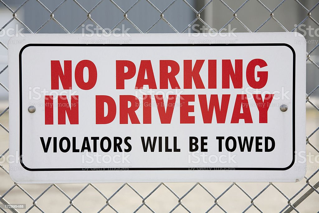 no parking in driveway stock photo