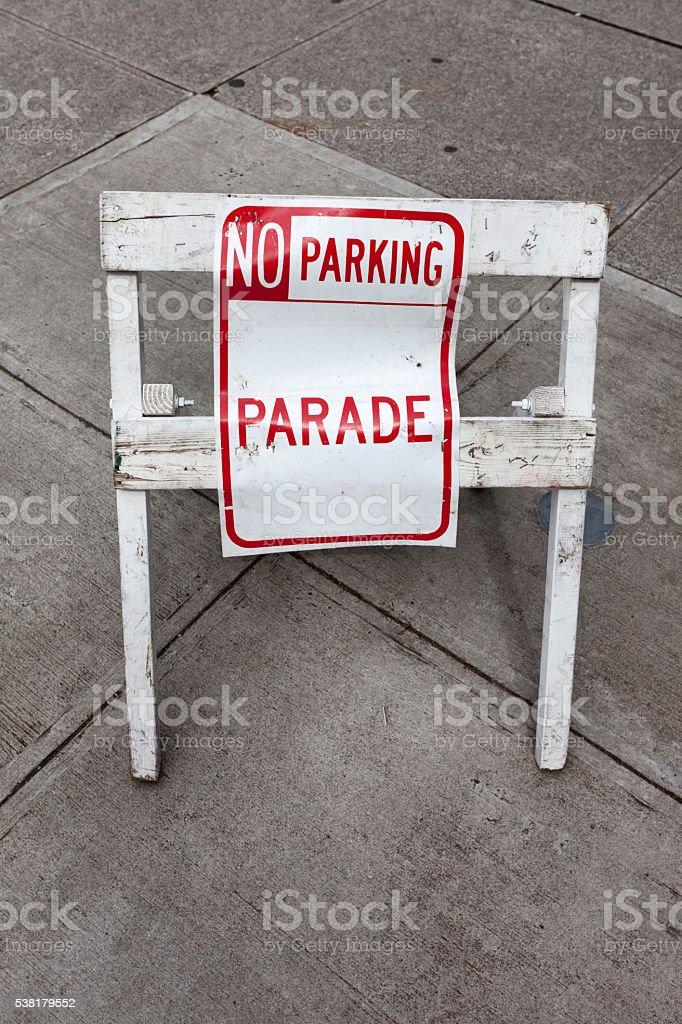 No Parking Parade Sign stock photo