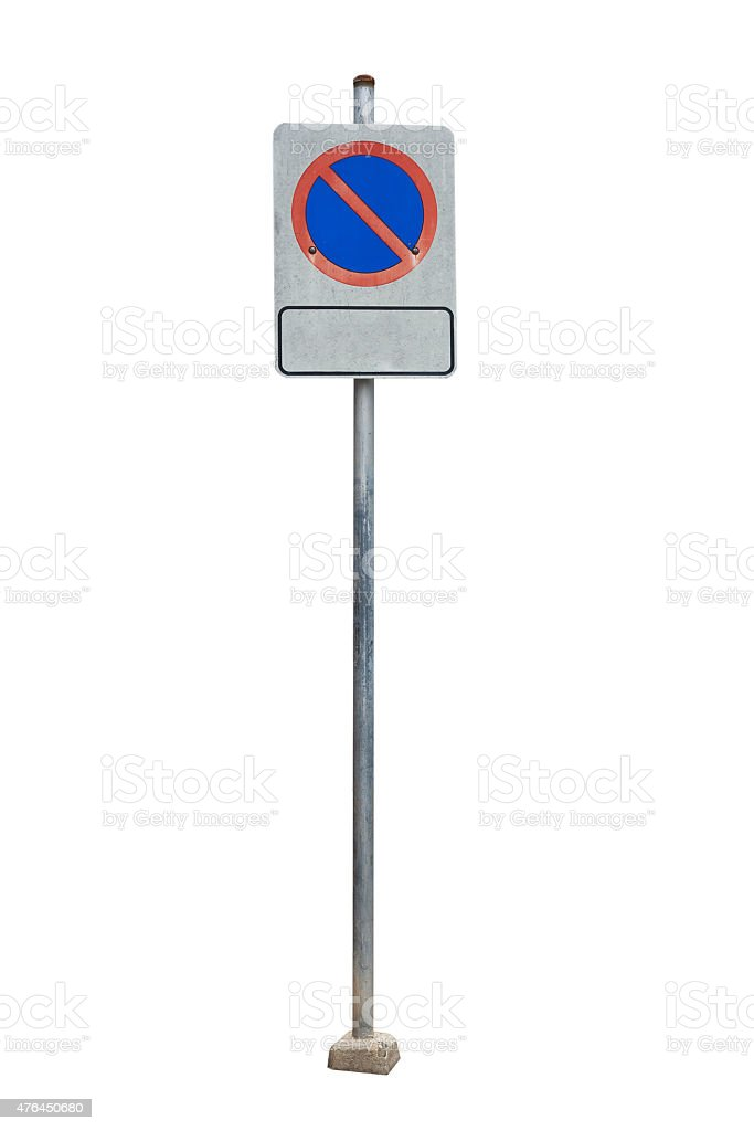 No parking road sign against white background stock photo
