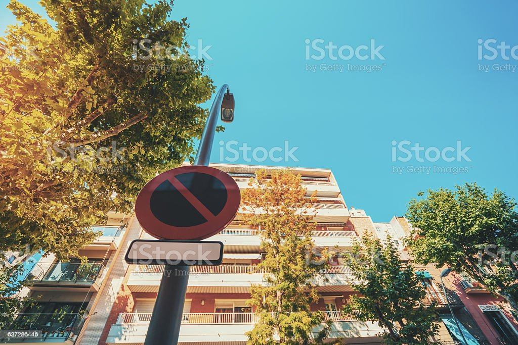 'No parking' road sign stock photo