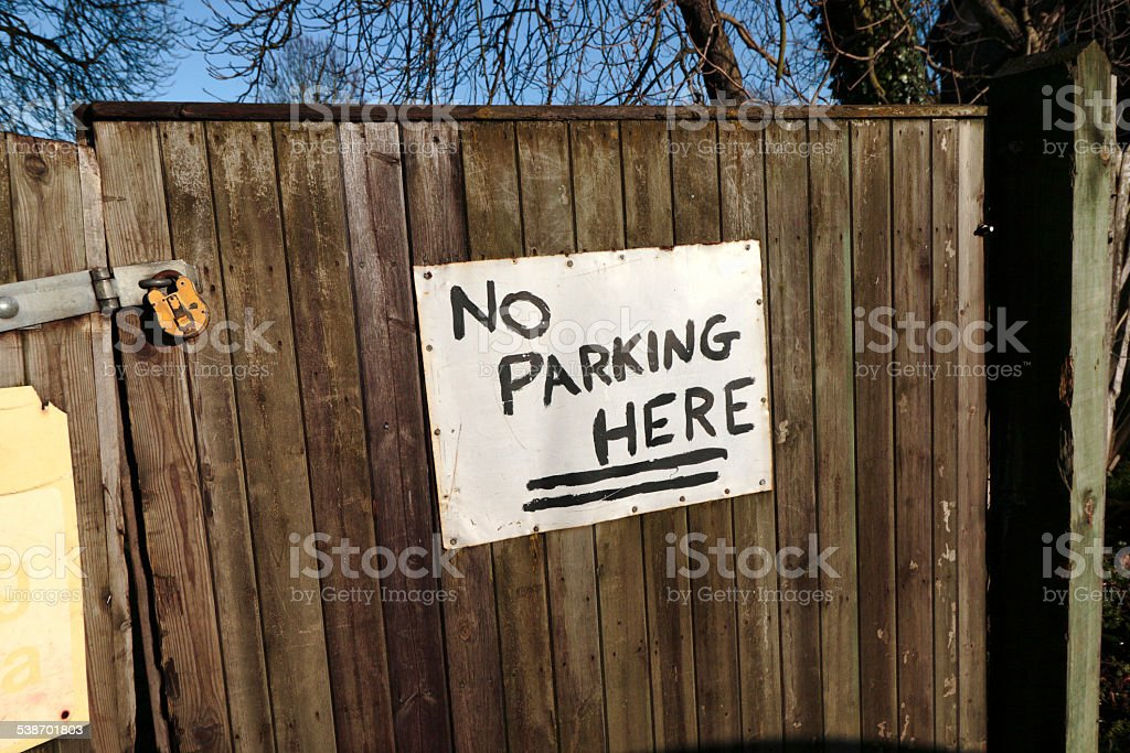 No parking here notice stock photo