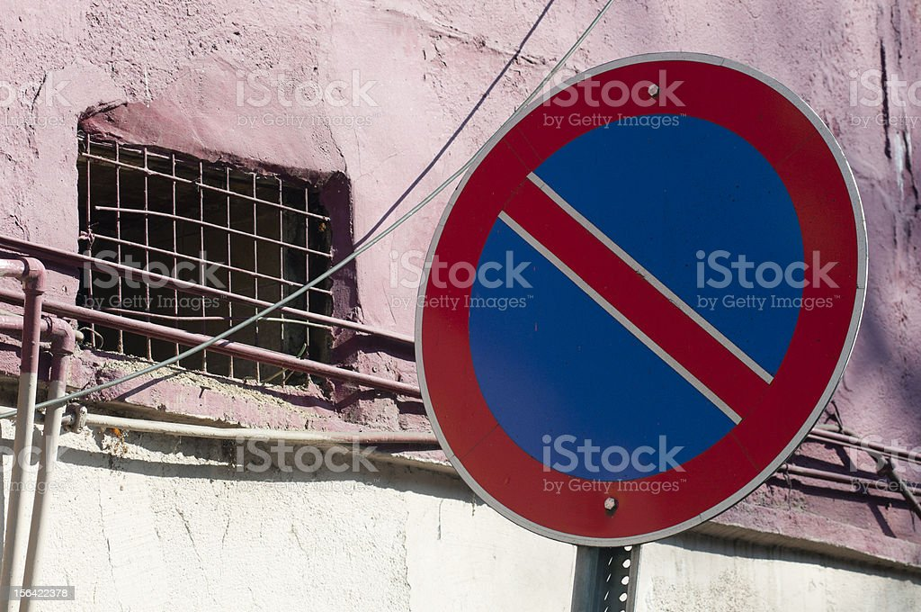 No parking sign next to a road, Istanbul, Turkey stock photo