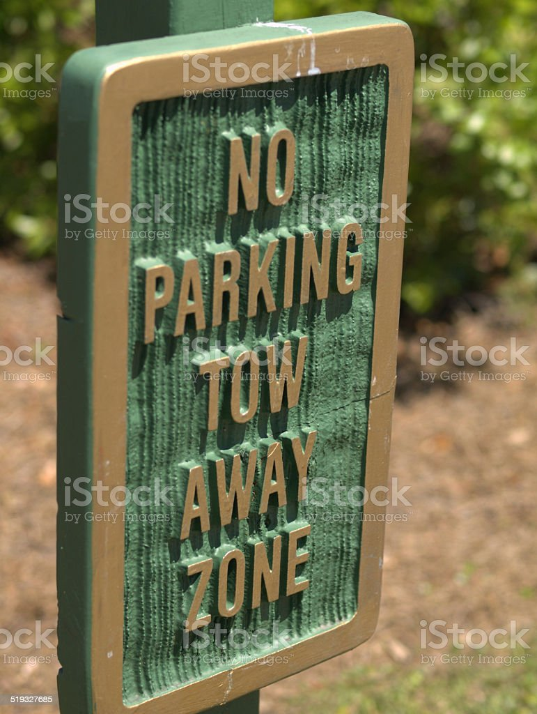 No parking tow away zone warning sign stock photo