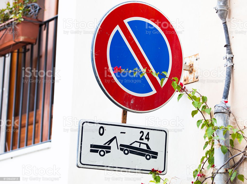 No parking. Tow zone. Sign. stock photo