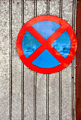 No parking traffic sign over old iron background