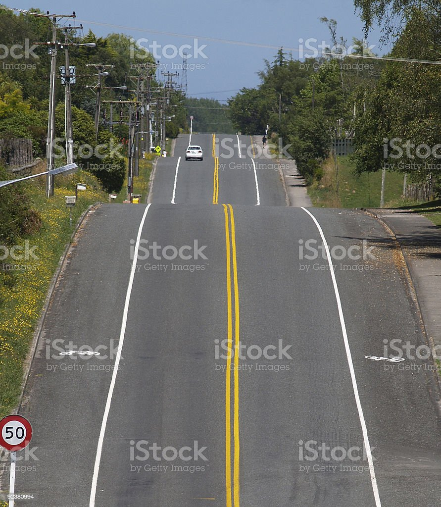 No Passing, double yellow lines. stock photo