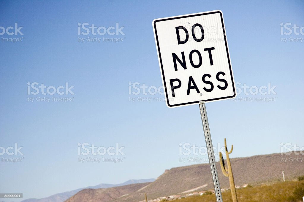 No Passing in the Desert stock photo