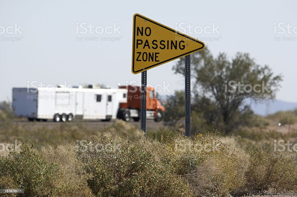 No passing zone sign RV in background royalty-free stock photo