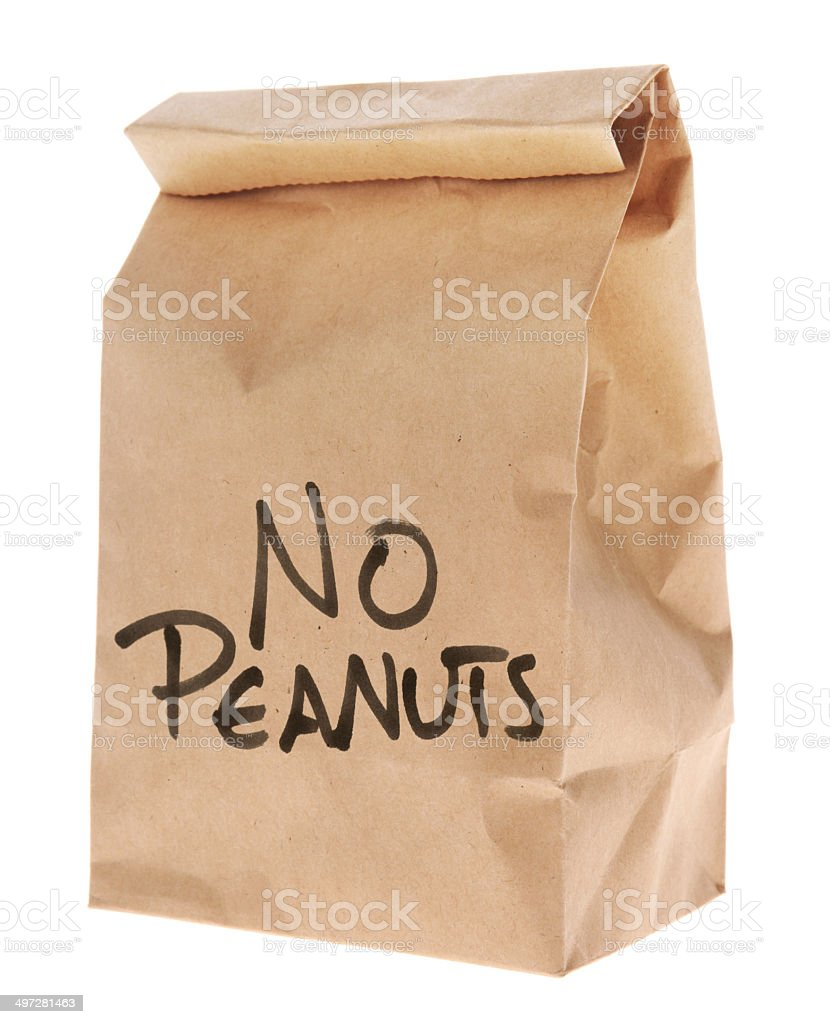 No Peanuts - Brown Paper Lunch Bag Isolated on White stock photo