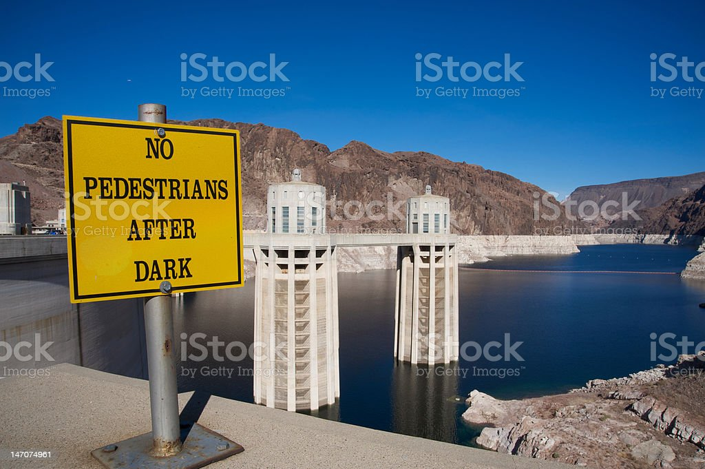 No pedestrians after dark at Hoover Dam royalty-free stock photo