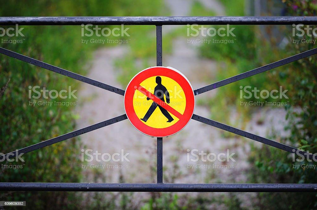 No pedestrians sign stock photo