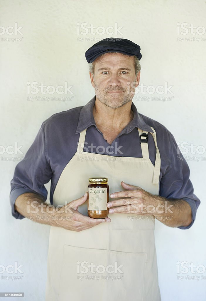 No preservatives added to his delicious jam royalty-free stock photo