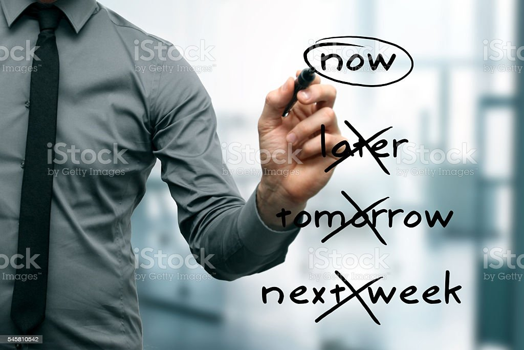 no procrastination -  do it now stock photo
