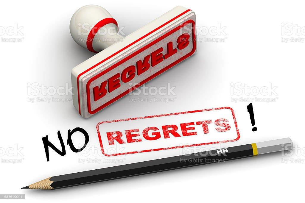 No regrets! Corrected seal impression stock photo