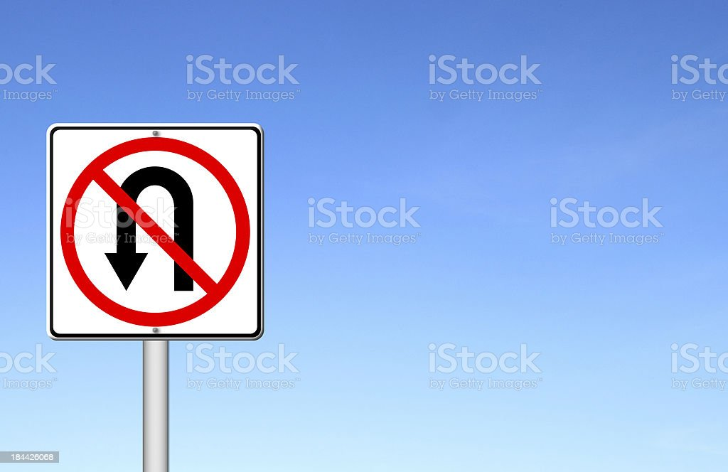 No return back road sign over blue sky royalty-free stock photo
