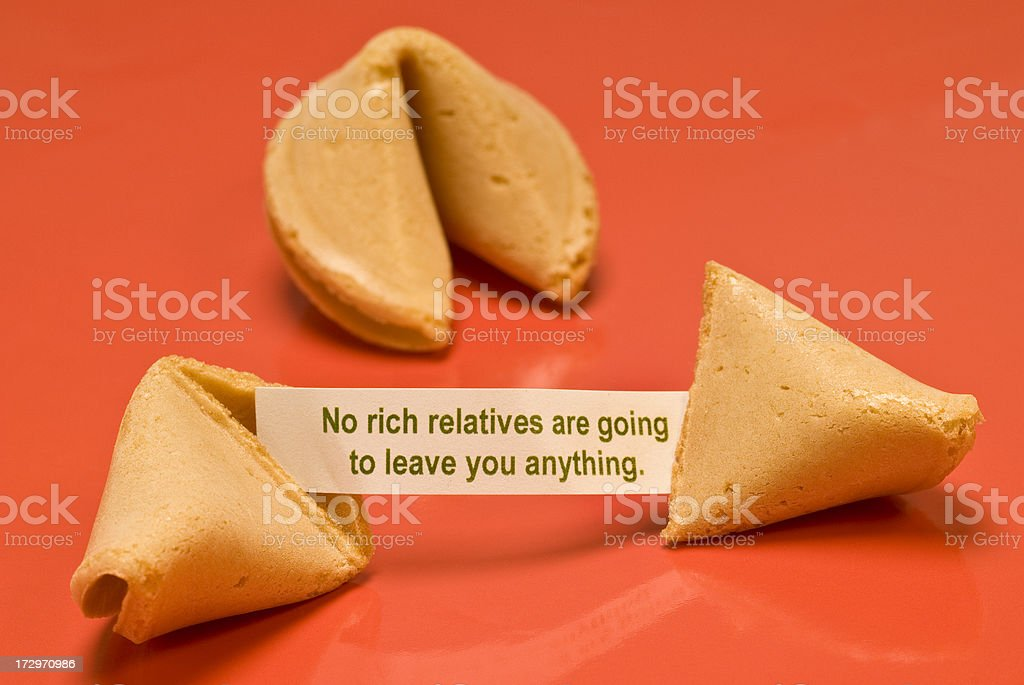No Rich Relatives Fortune Cookie royalty-free stock photo