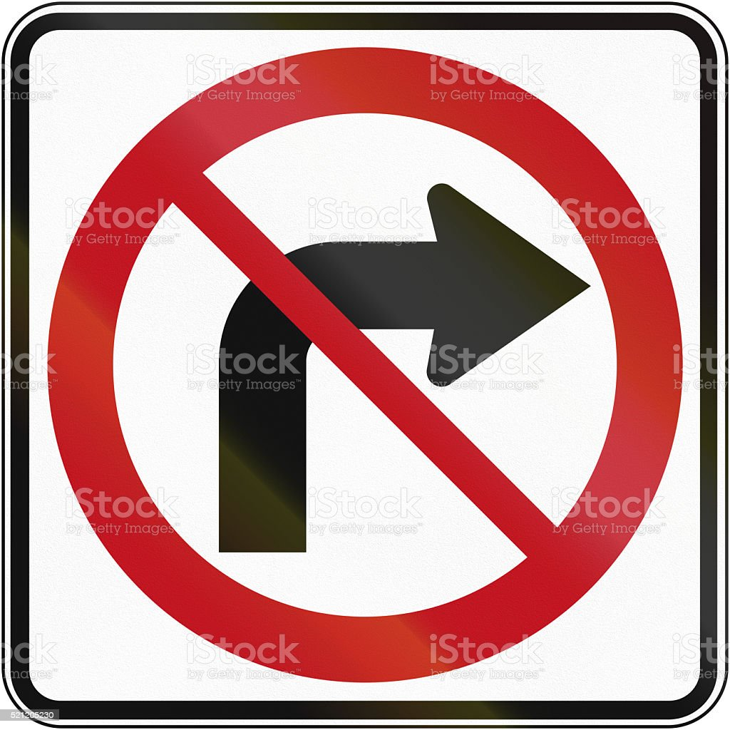 No Right Turn in Canada stock photo