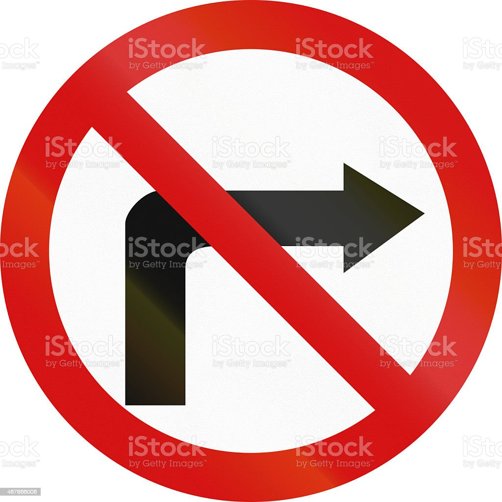 No Right Turn in Poland stock photo
