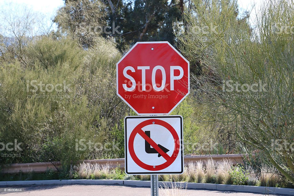 No right turn stock photo